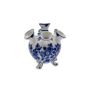 Petit vase à tulipes avec des fleurs bleues
