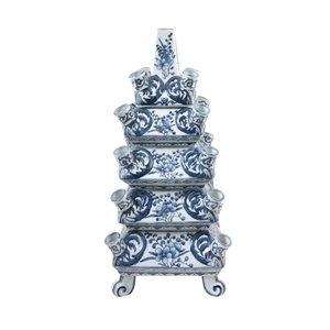 Vase empilable Bleu Blanc