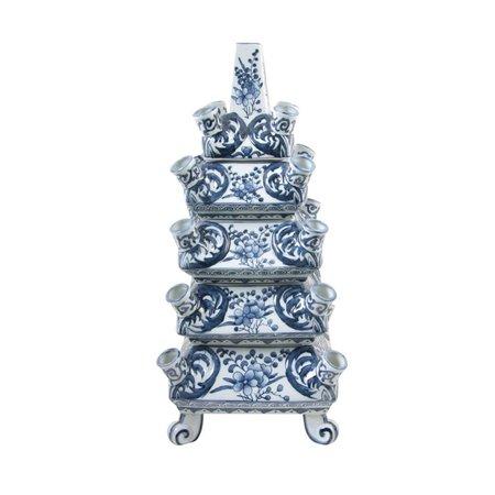 Stapel Vase Blau Weiß