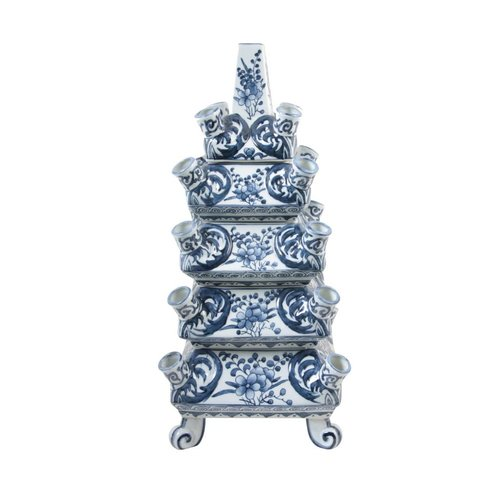 Stack Vase Blue White