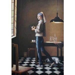 New Masters « La jeune fille à la perle » sur toile