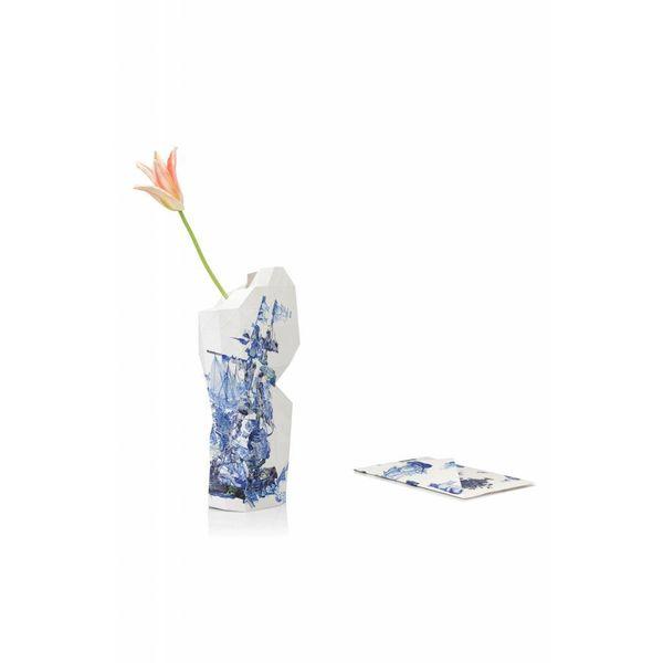 Vase en papier Delft bleu