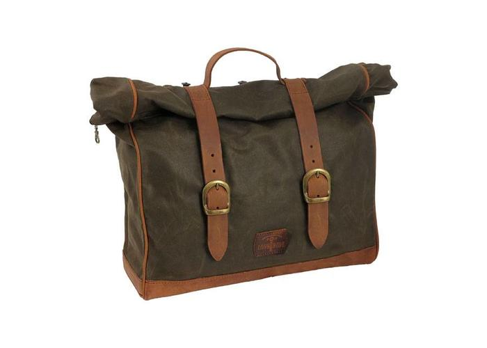 Longride Single Side Saddlebag Large Waxed Cotton Khaki