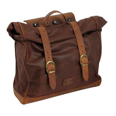 Longride Single Side Saddlebag Large Waxed Cotton Marron Brown