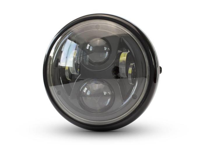 """Cafe Racer Multi LED Koplamp 7"""" Zwart"""