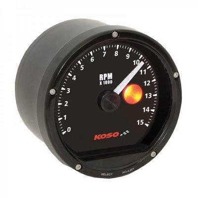 KOSO D75 Toerenteller Black face, black bezel 15000 RPM (met schakel lampje)