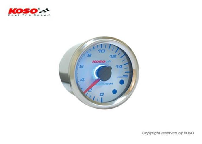 KOSO (15000 RPM / 48mm) GP style Universele Toerenteller - Wit