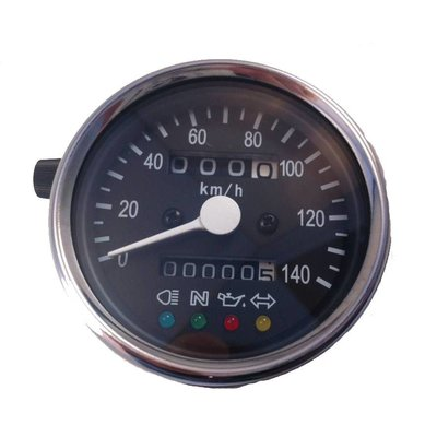Kilometerteller 4 functie lampjes Zwart / Chrome 140km/h