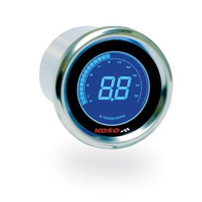 KOSO DL-01R D48 Toerenteller (Zwart LCD - Blauw)