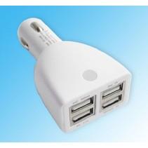 Autolader met 4 USB poorten 2.1A en 1A - voor Smartphone en Tablet - Wit