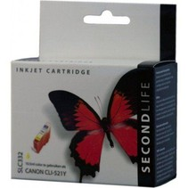 SecondLife vervangende inkt cartridge geel voor Canon CLI-521Y
