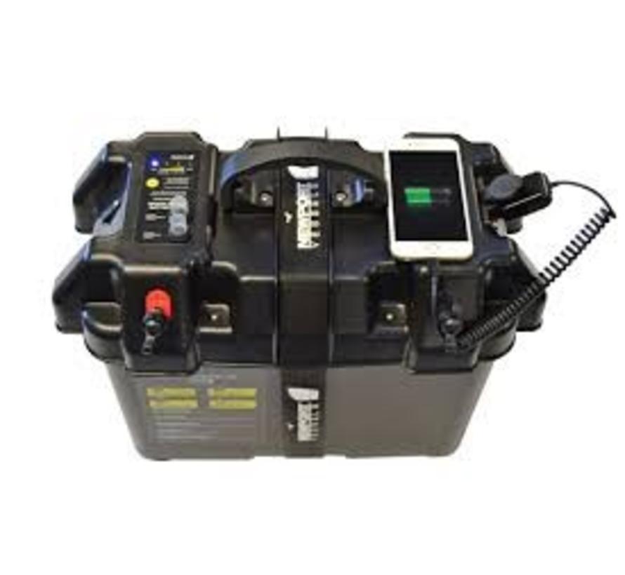 Smart power battery box met usb en aanstekeraansluiting