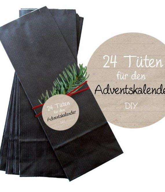 24 St. Kraftpapier Tüten 20x7cm schwarz