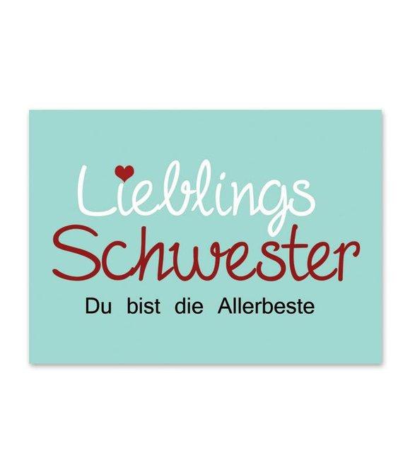 Postkarte *Lieblingsschwester* mint