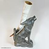 Support en bois pour corne à boire, en forme de Loup