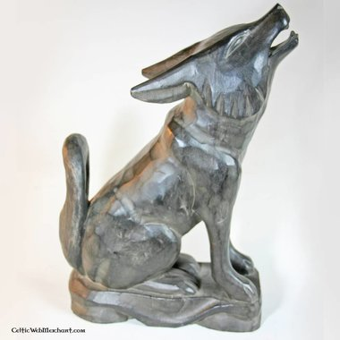 Houten drinkhoornstandaard wolf