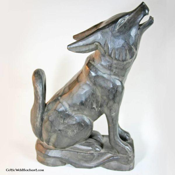 Supporto in legno per corno potorio lupo in piedi