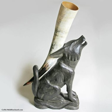 Wooden drinking horn stand wolf