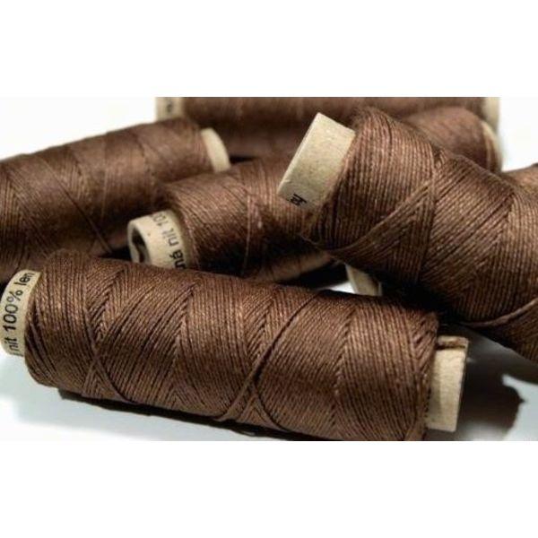 Linen yarn dark brown, 50 m