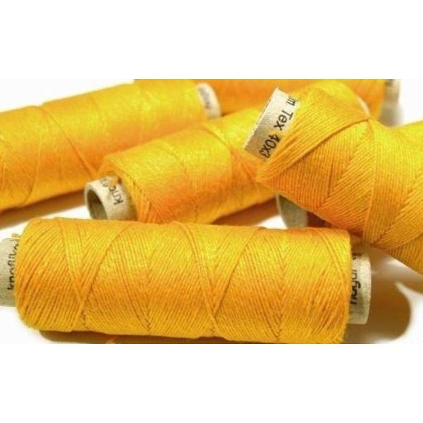 Linen yarn yellow, 50 m