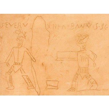 Graffiti gladiador Pompeya