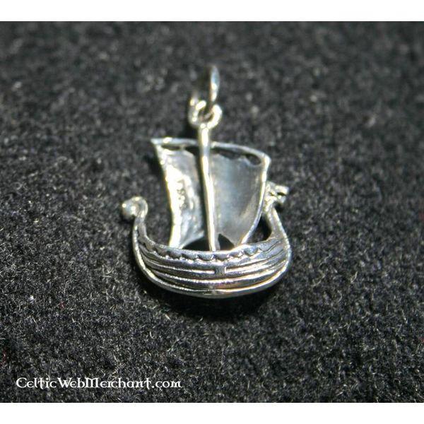 Pendentif Drakar Viking, en argent