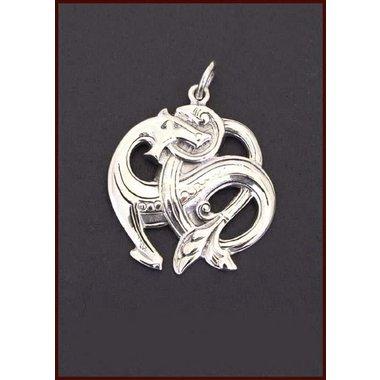 Pendentif Serpent Midgard, en argent