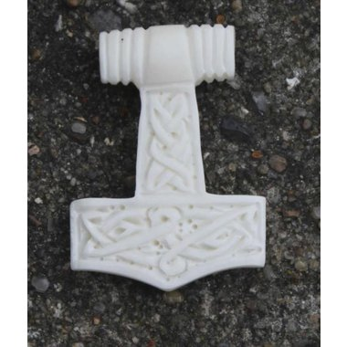 Marteau de Thor avec motif de noeud, en os