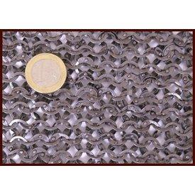 Ulfberth Pezzo di cotta di maglia, anelli piatti - rivetti rotondi, 20 x 20 cm