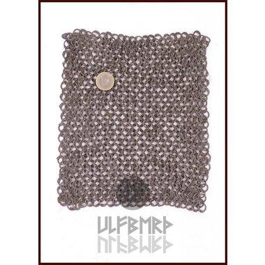 Pièce de cotte de maille, anneaux plats - rivets ronds, 20 x 20 cm