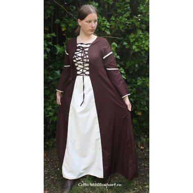 Dress Eleanora brown-white