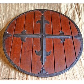 Wooden round shield with cross