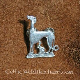 Distintivo medievale lepre e cane da caccia