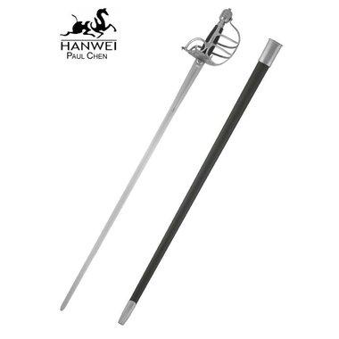 Epée à garde en panier, prête au combat