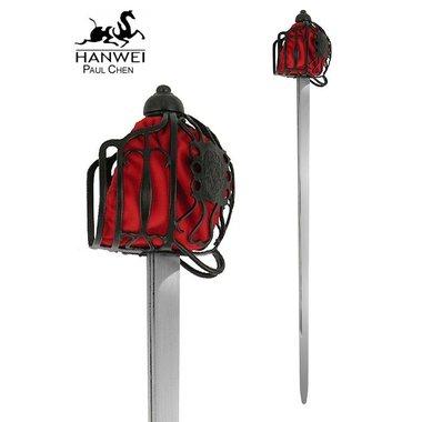 Epée Backsword à garde en panier, prête au combat