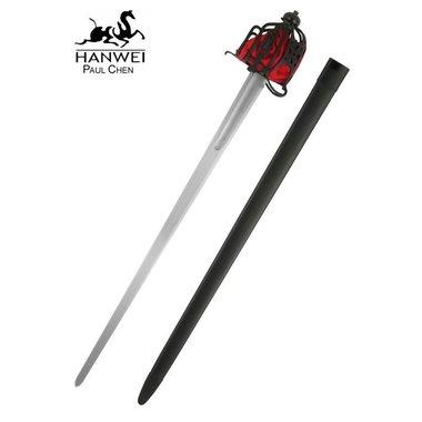 Epée Broadsword à garde en panier, prête au combat