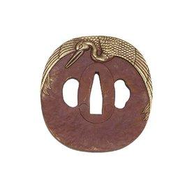 Tsuba, décorée avec une grue