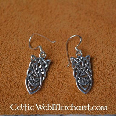 Celtic knotted earrings, silver