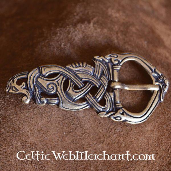 Fibbia vichinga serpente di Midgard in bronzo