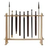 Soporte de madera para las espadas y armas de polo