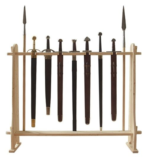 Houten standaard voor zwaarden en paalwapens - Outs idee open voor levende ...