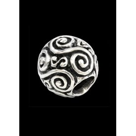 Beardbead with double spiral silver