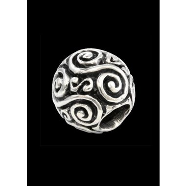 Beard bead with double spiral silver