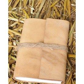 Klein zakboekje met leren kaft
