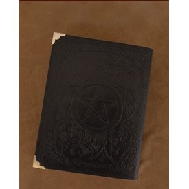 Black Leather book with Pentagram, approx. 23 x 18 cm