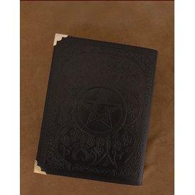 Sort Læder bog med Pentagram, ca. 23 x 18 cm