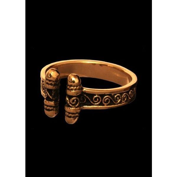 Vikingring met spiralen brons