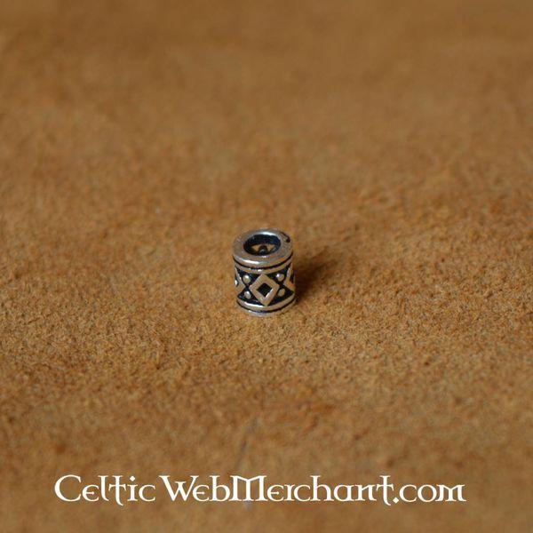 Vikingbaardkraal met ruitmotief zilver