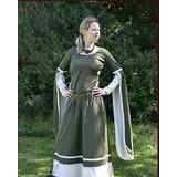 Vestido medieval Dorothee, naturel de oliva