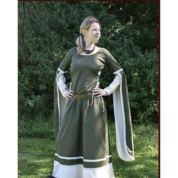 Middeleeuwse jurk Dorothee, olijf-naturel